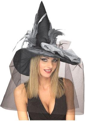Фото Колпак гламурной ведьмы (черный)