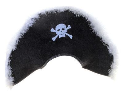 Фото Пиратская шляпа (белый пух) взрослая