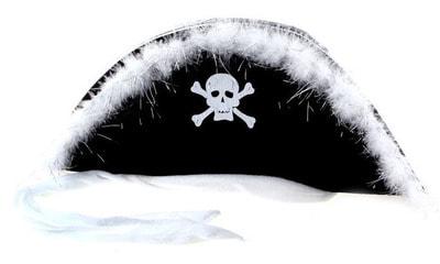 Фото Пиратская шляпа с белой опушкой взрослая