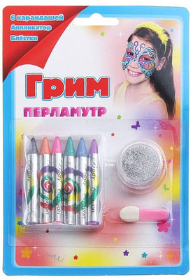 Фото Грим карандаши и блестки, 6 перламутровых цветов