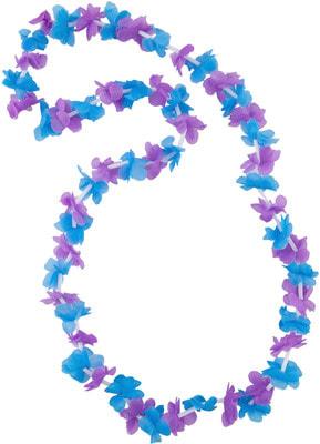 Фото Гавайское ожерелье фиолетово-голубое из маленьких цветочков