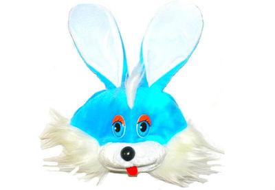 Фото Детская шапка зайца голубая