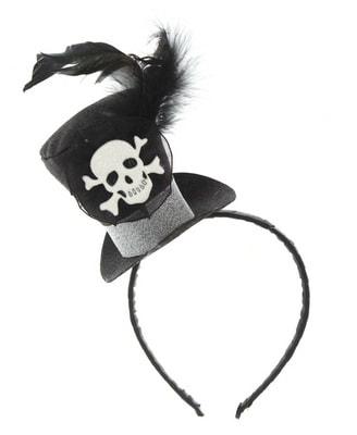 Фото Ободок с мини-шляпкой Череп
