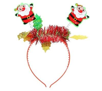 Фото Ободок новогодний Дед Мороз с мишурой