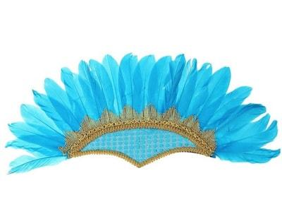 Фото Головной убор с перьями голубой