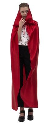 Фото Красный атласный плащ с капюшоном