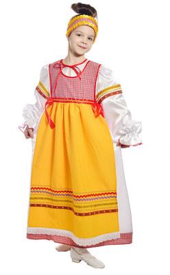 Фото Костюм народный с фартуком красный детский