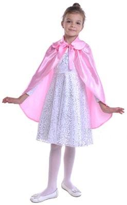 Фото Розовый атласный плащ с воротником детский