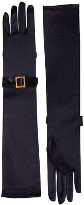 Фото Классические черные перчатки с отделкой