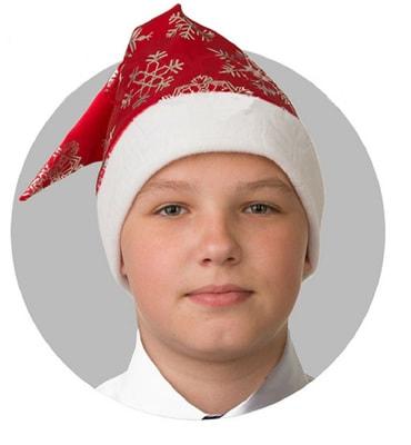 Фото Ногодний колпак со снежинками (красный)