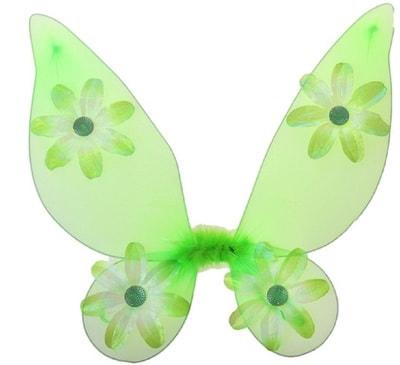 Фото Крылья Бабочки с цветочками зеленые