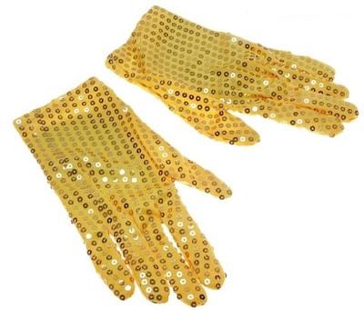 Фото Желтые перчатки с пайетками