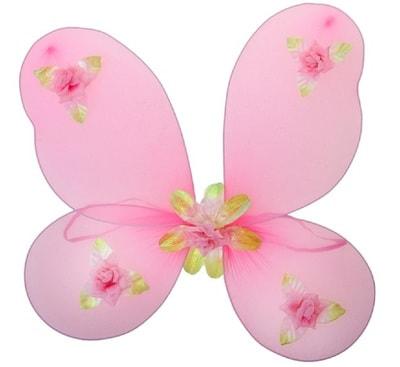 Фото Крылья Феи с цветочками розовая