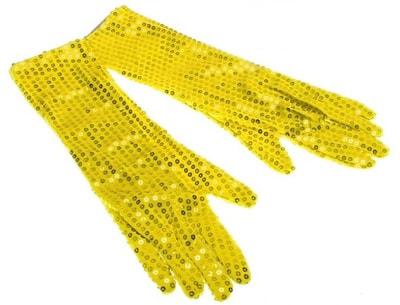Фото Длинные желтые перчатки с пайетками
