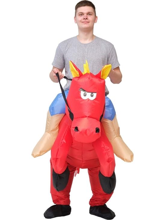 8b5e02094a93 Костюм надувной Всадник на красной лошади взрослый - Смешные, арт:120595