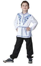 Фото Косоворотка Гжель с поясом белая детская