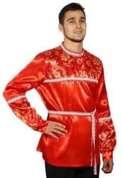 Фото Косоворотка красная мужская с поясом