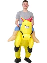 Фото Костюм надувной Всадник на желтой лошади взрослый