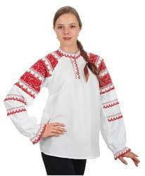 Фото Женская народная рубашка (красная)