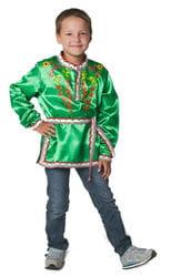 Фото Косоворотка с поясом Хохлома зеленая детская