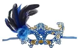 Фото Ажурная маска с пером (синяя)