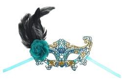 Фото Ажурная маска с пером (бирюзовая)