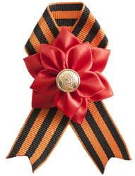 Фото Брошь-бант георгиевская лента Цветок