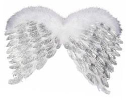 Фото Крылья ангела белые с блёстками (60 см)