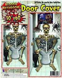 Фото Декорация на дверь Скелет в туалете