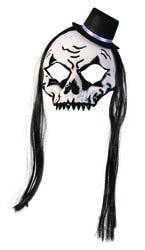 Фото Маска Скелет с волосами в шляпе