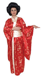 Фото Костюм Японка в красном кимоно взрослый