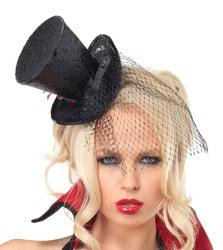Фото Мини-шляпка черная с вуалью взрослая