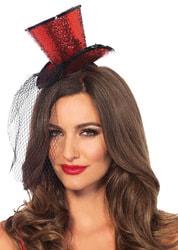 Фото Мини-шляпка красная с вуалью взрослая