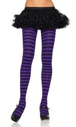 Фото Колготки полосатые фиолетовые взрослые