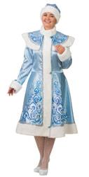Фото Костюм Снегурочка аппликация голубая сатин взрослая