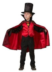 Фото Костюм Дракула в шляпе (красный) детский