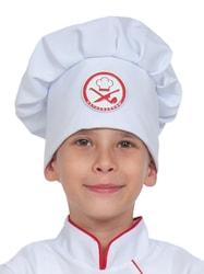 Фото Белый поварской колпак детский