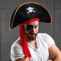 Фото Карнавальная шляпа Пират черная