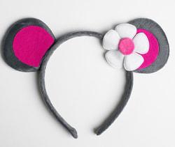 Фото Карнавальный ободок Мышка с цветочком