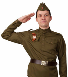 Фото Костюм Солдат (гимнастерка, ремень, пилотка) взрослый