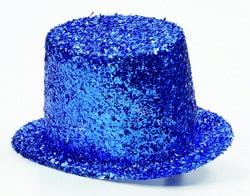 Фото Цилиндр блестящий синий взрослый
