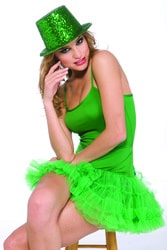 Фото Цилиндр блестящий зеленый взрослый