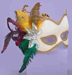 Фото Маска карнавальная с перьями женская