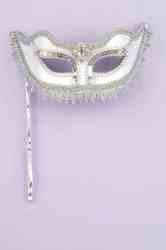 Фото Маска венецианская на палке серебряная взрослая