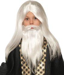 Фото Набор парик и борода с усами Волшебника детский