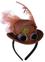 Фото Мини-шляпка Стимпанк коричневая взрослая
