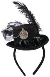 Фото Мини-шляпка Стимпанк черная взрослая
