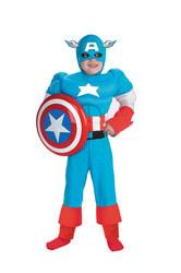 Фото Костюм Капитан Америка с мускулами Люкс детский