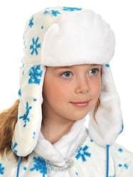Фото Шапка-ушанка зимняя белая детская