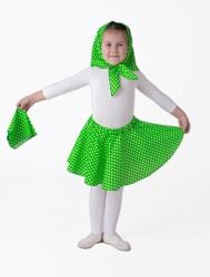 Фото Юбка-солнце зеленая горох плясовая детская
